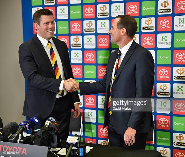 New Adelaide Football Club senior coach Don Pyke shakes hands with club CEO Andrew Fagan at Adelaide Crows AFL press conference at AAMI Stadium on...
