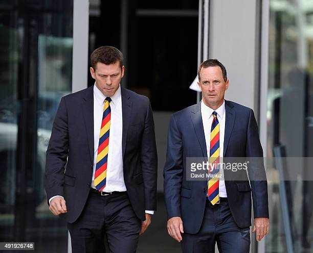 New Adelaide Football Club senior coach Don Pyke with club CEO Andrew Fagan arrive at Adelaide Crows AFL press conference at AAMI Stadium on October...