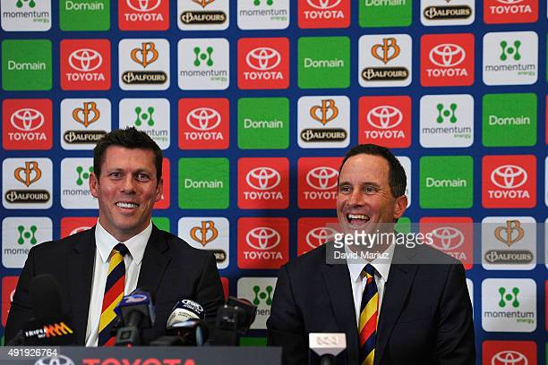 New Adelaide Football Club senior coach Don Pyke with club CEO Andrew Fagan at Adelaide Crows AFL press conference at AAMI Stadium on October 9 2015...