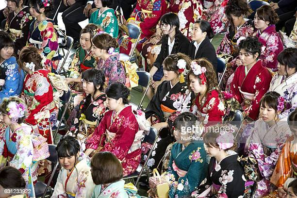 New adults in kimonos attend a Coming of Age Day celebration ceremony in Shuri Junior High School in Okinawa Japan on January 8 2017 The Coming of...