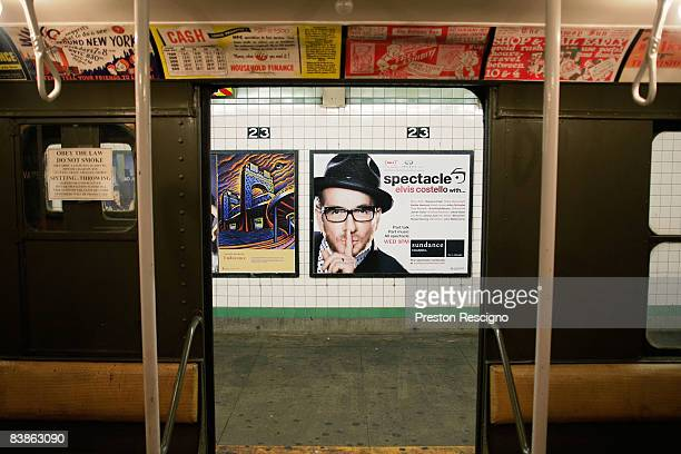 New advertisements are seen through the door of a vintage R1 New York City Subway car which was manufactured in the 1930s at the 23rd St station...