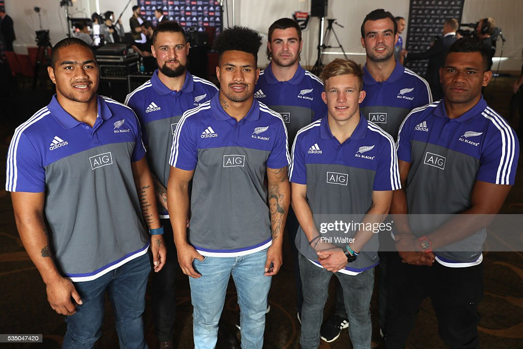 New All Black caps Ofa Tu'ungafasi, Elliot Dixon, <a gi-track='captionPersonalityLinkClicked' href=/galleries/search?phrase=Ardie+Savea&family=editorial&specificpeople=8836502 ng-click='$event.stopPropagation()'>Ardie Savea</a>, Liam Squire, Damian McKenzie, Tom Franklin and <a gi-track='captionPersonalityLinkClicked' href=/galleries/search?phrase=Seta+Tamanivalu&family=editorial&specificpeople=9743583 ng-click='$event.stopPropagation()'>Seta Tamanivalu</a> pose during the New Zealand All Blacks squad announcement at The Heritage Hotel on May 29, 2016 in Auckland, New Zealand.