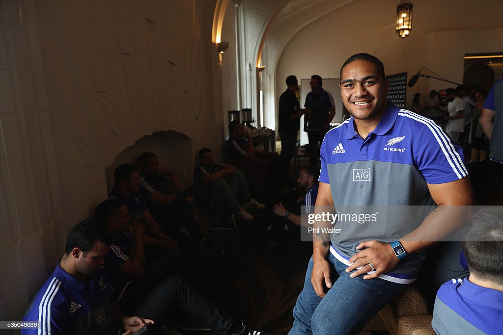 New All Black Ofa Tu'ungafasi during the New Zealand All Blacks squad announcement at The Heritage Hotel on May 29, 2016 in Auckland, New Zealand.