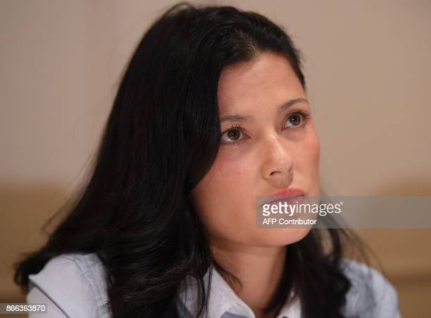 New alleged victim of film producer Harvey Weinstein actor and model Natassia Malthe holds a press conference at Lotte New York Palace on October 25...