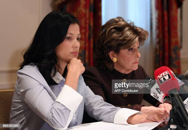 New alleged victim of film producer Harvey Weinstein actor and model Natassia Malthe and Attorney Gloria Allred speak during a press conference held...