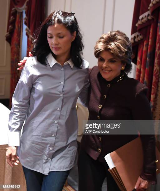 New alleged victim of film producer Harvey Weinstein actor and model Natassia Malthe and her Attorney Gloria Allred leave after holding a press...