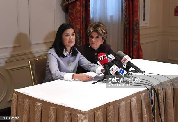 New alleged victim of film producer Harvey Weinstein actor and model Natassia Malthe speaks next to her Attorney Gloria Allred during a press...