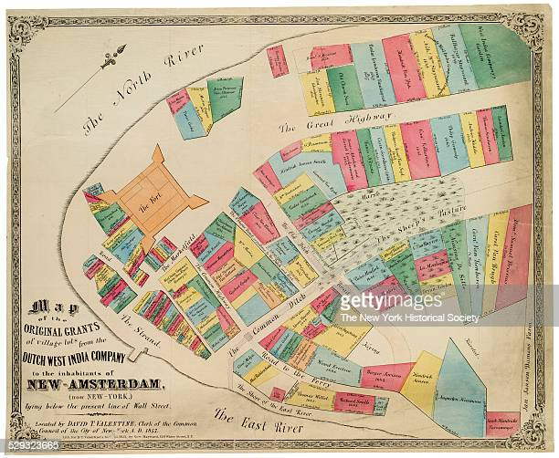 New Amsterdam Maps from DT Valentine's Manual of the Corporation of the City of New York and his History of New York 1857 Black ink with color wash...