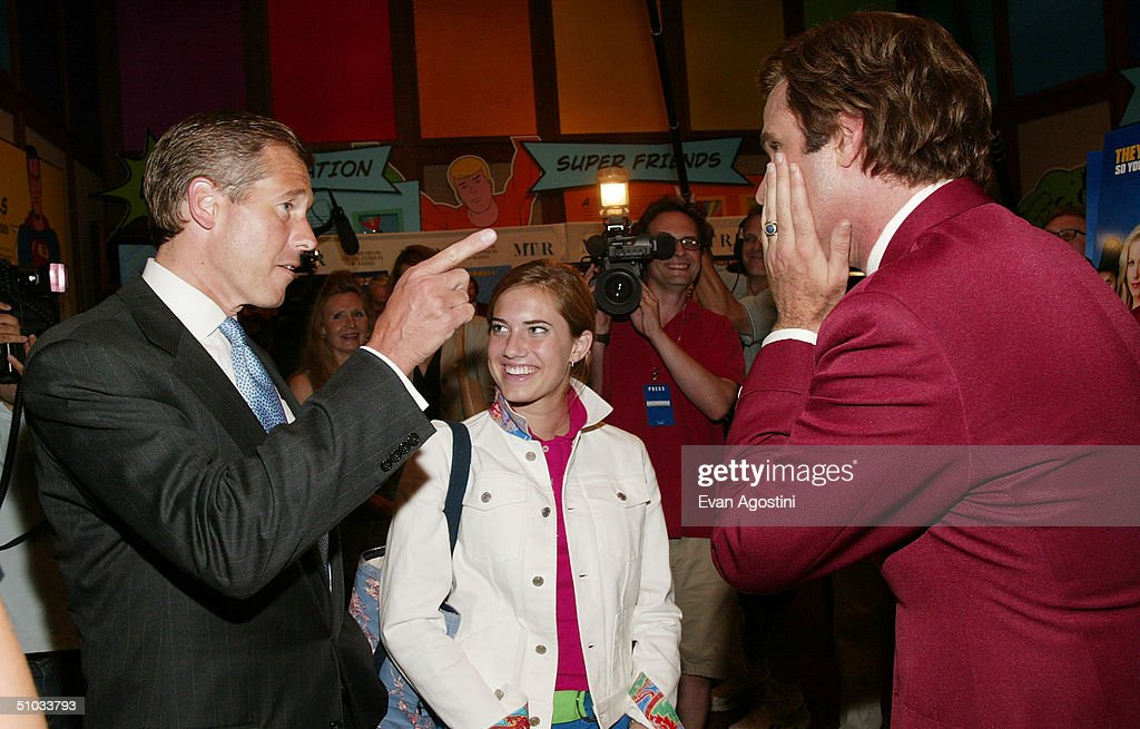 New Anchor Brian Williams and his daughter Allison chat with actor <a gi-track='captionPersonalityLinkClicked' href=/galleries/search?phrase=Will+Ferrell&family=editorial&specificpeople=171995 ng-click='$event.stopPropagation()'>Will Ferrell</a> aka Ron Burgundy after a special screening of the film 'Anchorman: The Legend of Ron Burgundy' at the Museum of Television and Radio July 7, 2004 in New York City.