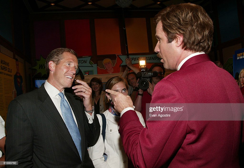 New Anchor Brian Williams chats with actor <a gi-track='captionPersonalityLinkClicked' href=/galleries/search?phrase=Will+Ferrell&family=editorial&specificpeople=171995 ng-click='$event.stopPropagation()'>Will Ferrell</a> aka Ron Burgundy after a special screening of the film 'Anchorman: The Legend of Ron Burgundy' at the Museum of Television and Radio July 7, 2004 in New York City.
