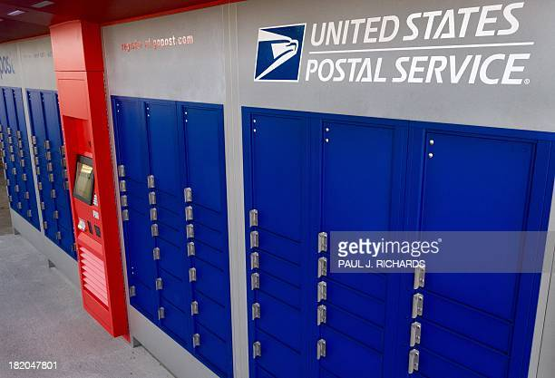A new and improved colorful outdoor version of Post Office mail boxes are seen outside the Centerville Virginia US Post Office September 26 2013 AFP...
