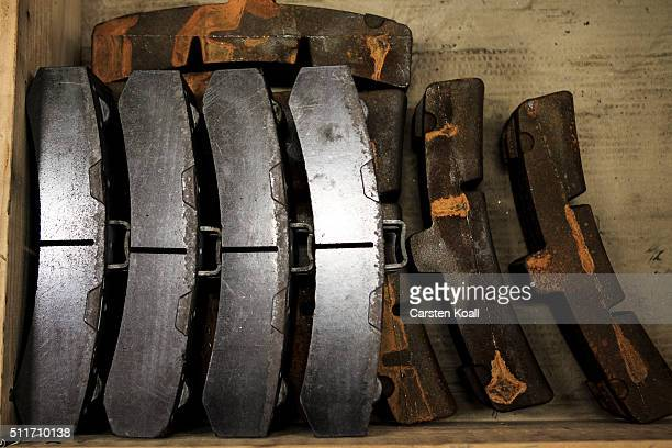 New and old technology brake pads are seen during a workshop of the DB AG during which freight cars are fitted with new composite LL brake blocks on...
