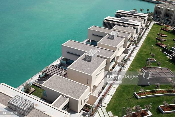 New apartment blocks are seen on the waterfront at the Al Muneera development during a media tour organized by Aldar Properties PJSC Abu Dhabi's...