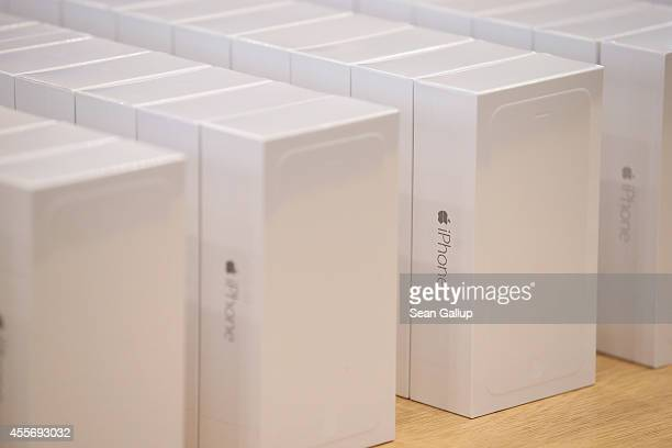 New Apple iPhone 6 phones await customers at the Apple Store on the first day of sales of the new phone in Germany on September 19 2014 in Berlin...