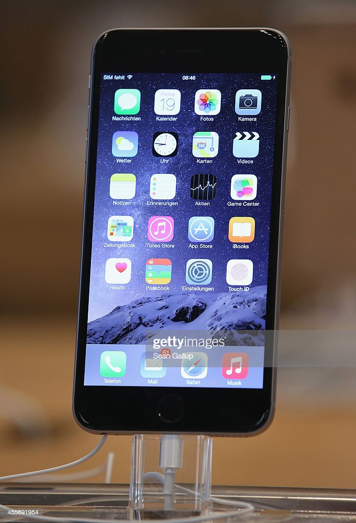 A new Apple iPhone 6 Plus stands on display at the Apple Store on the first day of sales of the new phone in Germany on September 19 2014 in Berlin...