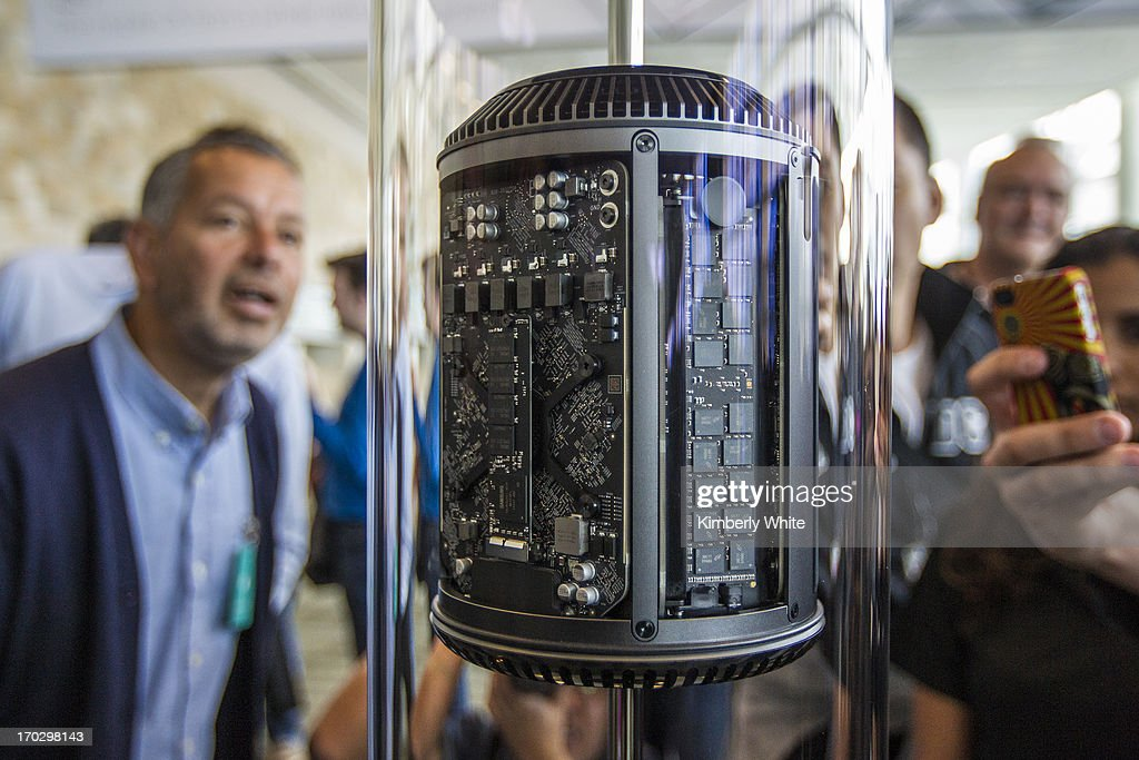 A new Apple Mac Pro is displayed during the 2013 Apple WWDC at the Moscone Center on June 10, 2013 in San Francisco, California. Apple introduced a new mobile operatng system, iOS 7, hardware upgrades and a new operating system, OS X Mavericks, during the address. The annual developer conference runs through June 14.
