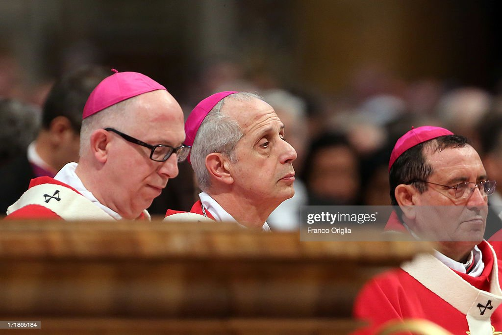 New Archbishop of Buenos Aires Mario Aurelio Poli (C) attends the mass and imposition of the Pallium upon the new metropolitan archbishops held by <a gi-track='captionPersonalityLinkClicked' href=/galleries/search?phrase=Pope+Francis&family=editorial&specificpeople=2499404 ng-click='$event.stopPropagation()'>Pope Francis</a>, whom he replaced after his elections as Pontiff, for the Solemnity of Saint Peter and Paul at Vatican Basilica on June 29, 2013 in Vatican City, Vatican. <a gi-track='captionPersonalityLinkClicked' href=/galleries/search?phrase=Pope+Francis&family=editorial&specificpeople=2499404 ng-click='$event.stopPropagation()'>Pope Francis</a> delivered the homily at Mass in St Peter's Basilica on Saturday morning, to mark the Solemnity of Saints Peter and Paul, Apostles and Patrons fo the city of Rome. In his remarks following the Gospel reading, the Holy Father focused on a particular task of the Petrine ministry, which is to strengthen, or confirm, all the faithful.