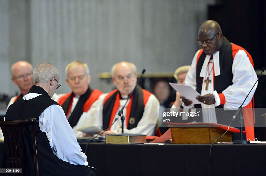 New Archbishop of Canterbury Justin Welby (L) listens as the Archbishop of York John Sentamu (R) speaks during the ceremony to confirm Welby's election as Archbishop at St Paul's Catheral in central London on February 4, 2013. The ceremony, known as the Confirmation of Election, forms part of the legal process by which Welby replaces his predecessor, Rowan Williams, as Archbishop of Canterbury. AFPP