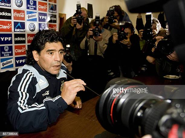 New Argentina coach Diego Maradona attends a press conference in Glasgow on November 18 2008 Diego Maradona says he cannot understand why Terry...