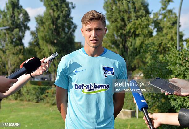 New arrival Niklas Stark of Hertha BSC gives an interview during the training of Hertha BSC on august 24 2015 in Berlin Germany