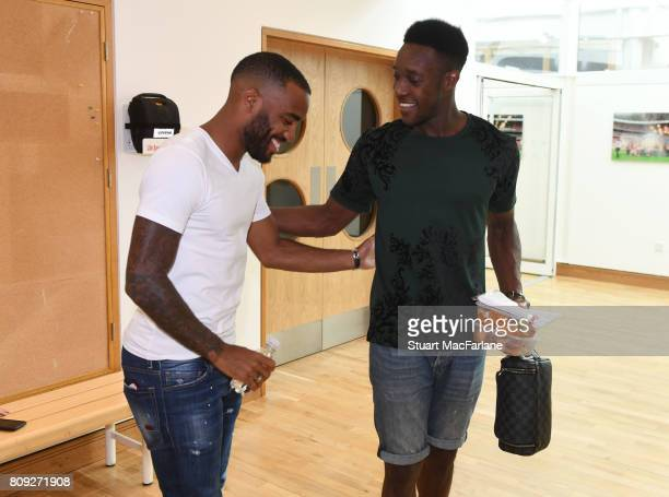 New Arsenal signing Alexandre Lacazette meets Danny Welbeck at London Colney on July 4 2017 in St Albans England