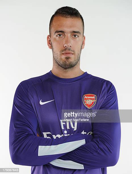 New Arsenal signing Emiliano Viviano poses for a picture at Arsenal Training Ground London Colney on September 2 2013 in St Albans England