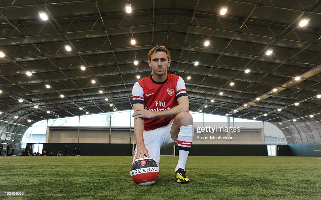 New Arsenal signing <a gi-track='captionPersonalityLinkClicked' href=/galleries/search?phrase=Nacho+Monreal&family=editorial&specificpeople=4078049 ng-click='$event.stopPropagation()'>Nacho Monreal</a> poses for a picture at Arsenal Training Ground, London Colney on February 1, 2013 in St Albans, England.