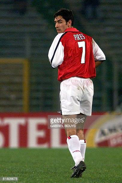New Arsenal striker Frenchman Robert Pires looks behind during the European Champions League match between Arsenal and Lazio Rome 17 October 2000 at...