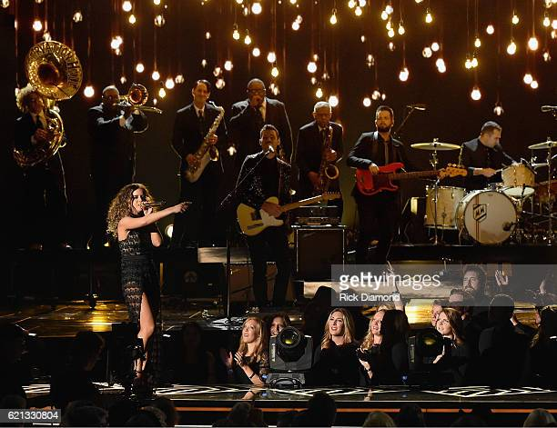 New Artist of the Year Maren Morris performs 'My Church' with The New Orleans Preservation Jazz Hall Band and The McCrary Sisters during the 50th...