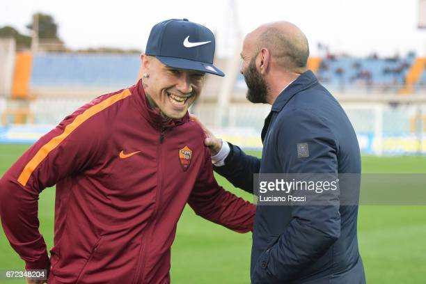 New AS Roma sporting Director Monchi meets and Radja Nainggolan before the Serie A match between Pescara Calcio and AS Roma at Adriatico Stadium on...