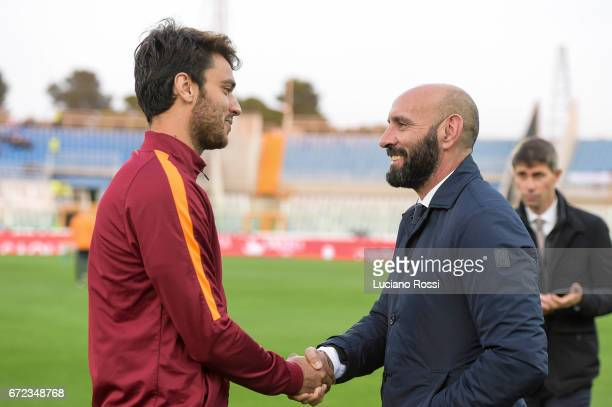 New AS Roma sporting Director Monchi meets Clement Grenier before the Serie A match between Pescara Calcio and AS Roma at Adriatico Stadium on April...