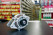 New automotive alternator in a parts department.