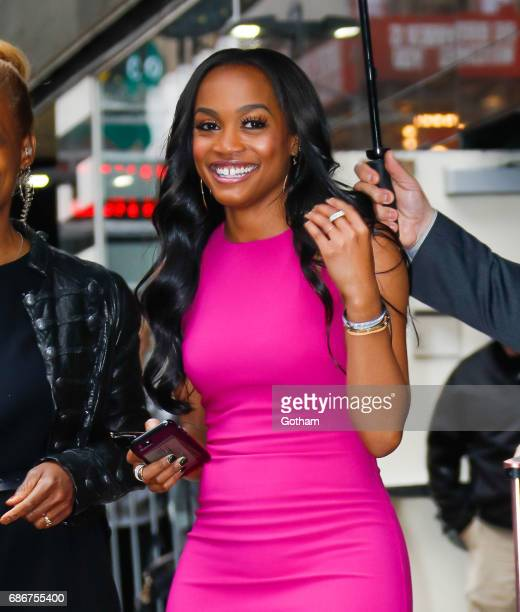 New bachlorette Rachel Lindsay wears a tight fuschia dress paired with Yeezy sneakers in New York  Photo Credit Gotham/GC Images