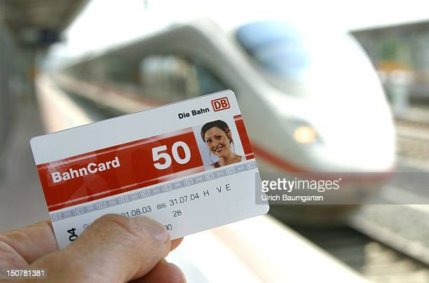 New BahnCard with 50 percent discount in the background an ICE3