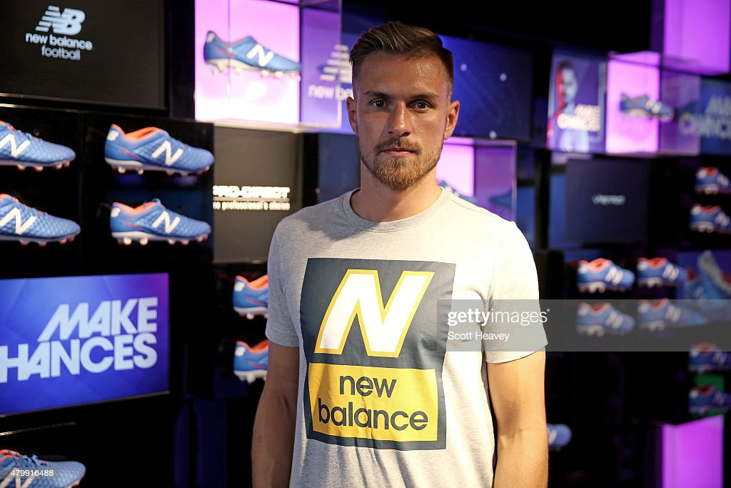 New Balance player, Arsenal's <a gi-track='captionPersonalityLinkClicked' href=/galleries/search?phrase=Aaron+Ramsey+-+Soccer+Player&family=editorial&specificpeople=4784114 ng-click='$event.stopPropagation()'>Aaron Ramsey</a> attends the launch of the New Balance Visaro and Furon boot at Pro Direct LDN19 on Carnaby Street on July 8, 2015 in London, England.
