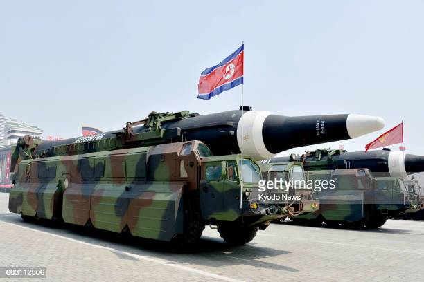 A new ballistic missile is pictured during a military parade at Kim Il Sung Square in Pyongyang on April 15 2017 North Korea's official Korean...