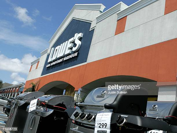 New barbecues are seen outside of a Lowe's home improvement warehouse store May 22 2006 in San Bruno California Lowe's the second largest home...