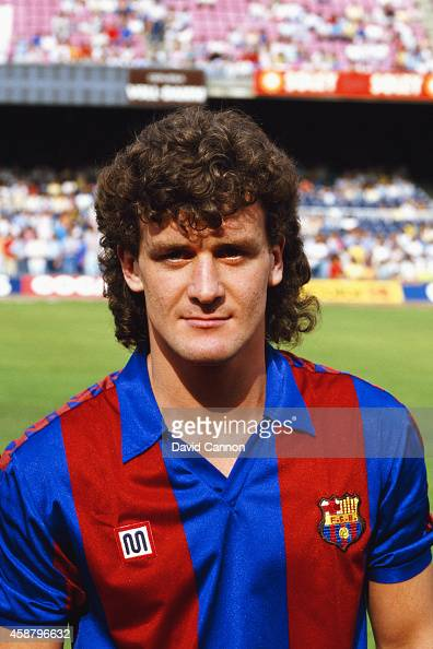 New Barcelona signing Mark Hughes pictured at the Nou Camp stadium in 1986 in Barcelona Spain