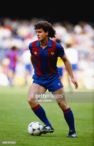 New Barcelona signing Mark Hughes pictured in action at the Nou Camp stadium in 1986 in Barcelona Spain