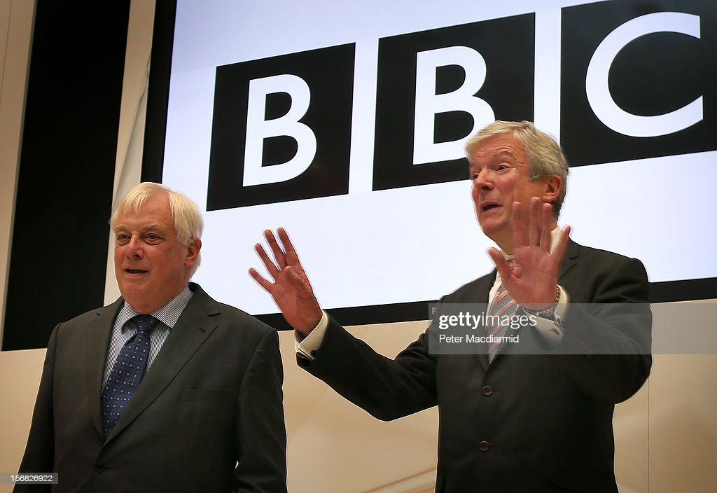 New BBC Director General Lord Hall (R) poses with BBC Trust Chairman Lord Patten at Broadcasting House on November 22, 2012 in London, England. Lord Hall will take over the 450,000 GBP post after the resignation of former Director General George Entwistle after a BBC Newsnight programme wrongly accused a former leading Conservative of being involved in child abuse.