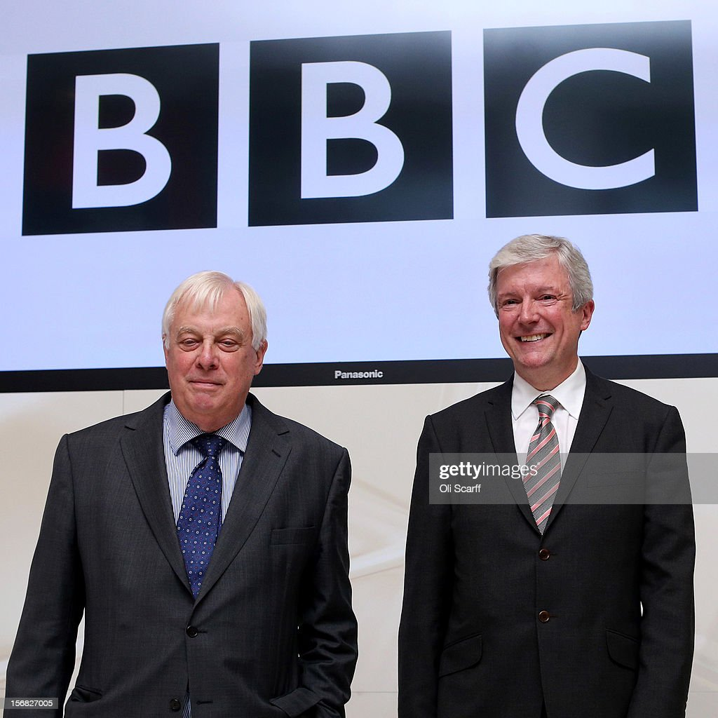 New BBC Director General Lord Hall (R) poses with BBC Trust chairman Lord Patten in Broadcasting House on November 22, 2012 in London, England. Lord Hall will take over the 450,000 GBP post after the resignation of former Director General George Entwistle after a BBC Newsnight programme wrongly accused a former leading Conservative of being involved in child abuse.