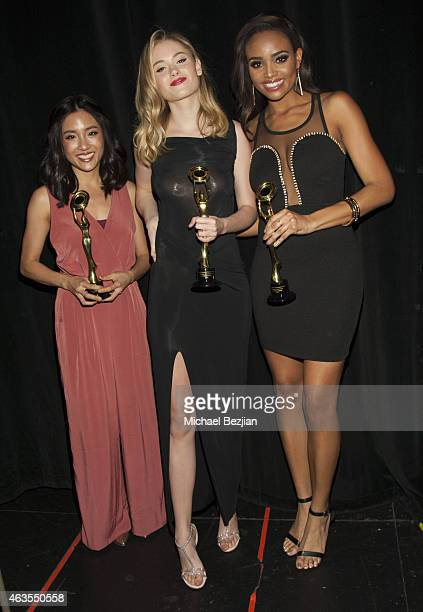New Beauty Recipients Virginia Gardner Constance Wu and Meagan Tandy backstage at 1st Hollywood Beauty Awards Presented By LATF And Benefiting...