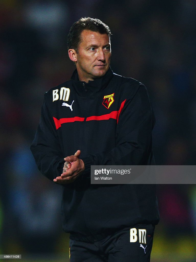 New <a gi-track='captionPersonalityLinkClicked' href=/galleries/search?phrase=Billy+McKinlay&family=editorial&specificpeople=2992598 ng-click='$event.stopPropagation()'>Billy McKinlay</a> manager of Watford looks on after the Sky Bet Championship match between Watford and Brentford at Vicarage Road on September 30, 2014 in Watford, England.