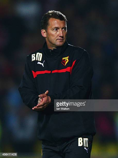New Billy McKinlay manager of Watford looks on after the Sky Bet Championship match between Watford and Brentford at Vicarage Road on September 30...