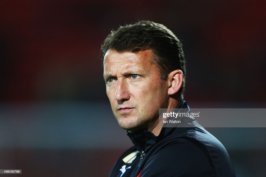 New <a gi-track='captionPersonalityLinkClicked' href=/galleries/search?phrase=Billy+McKinlay&family=editorial&specificpeople=2992598 ng-click='$event.stopPropagation()'>Billy McKinlay</a> manager of Watford looks on prior to the Sky Bet Championship match between Watford and Brentford at Vicarage Road on September 30, 2014 in Watford, England.