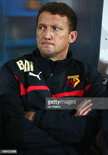 New Billy McKinlay manager of Watford looks on prior to the Sky Bet Championship match between Watford and Brentford at Vicarage Road on September 30...