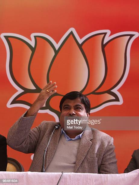 New BJP President Nitin Gadkari addresses a press conference at party office in New Delhi Thursday December 24 2009
