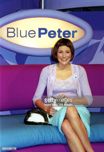 New Blue Peter member Liz Barker sits in the studio in London with Blue Peter pet cat Oke The long running BBC children's show currently in it's 42nd...