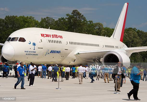 A new Boeing 787 Dreamliner being built for Air India is seen during rollout ceremonies at their production facilities April 27 in North Charlston...