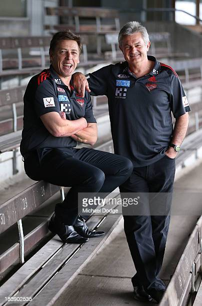 New Bombers coach Mark Thompson and new Senior Assistant coach Neil Craig pose together during an Essendon Bombers AFL press conference at Windy Hill...